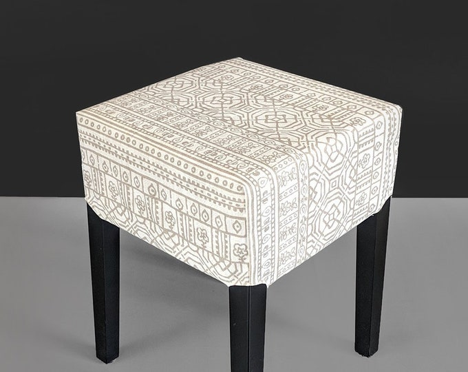 Mexican Print Stool Cover for IKEA Nils, Beige Gray