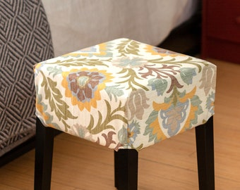 Brown Floral Mexican Print IKEA Stool Cover