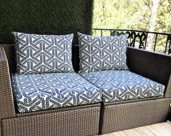Blue Durable IKEA Rope Print OUTDOOR Slip Cover, Ikea Cushion Covers, Custom Ikea Decor, Bespoke Arholma Covers, Topsail Navy