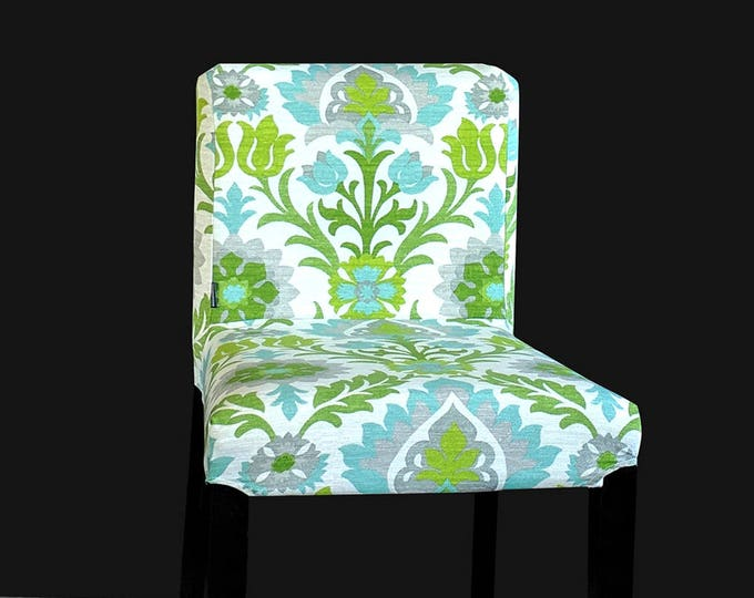 Mint Green Flowers IKEA HENRIKSDAL Bar Stool Chair Cover
