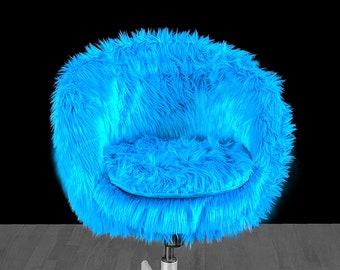 IKEA SKRUVSTA Chair Slip Cover, Turquoise Blue Fur