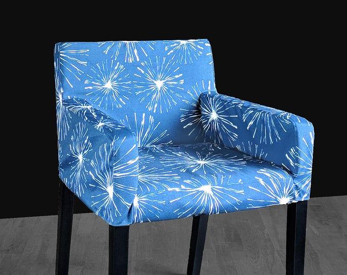 Custom IKEA NILS Chair Slip Cover, Navy Blue Sparks, Blossom, Fireworks