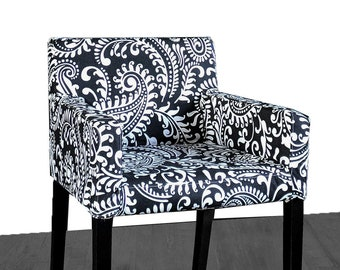 IKEA NILS Chair Slip Cover, Black Floral Patterned