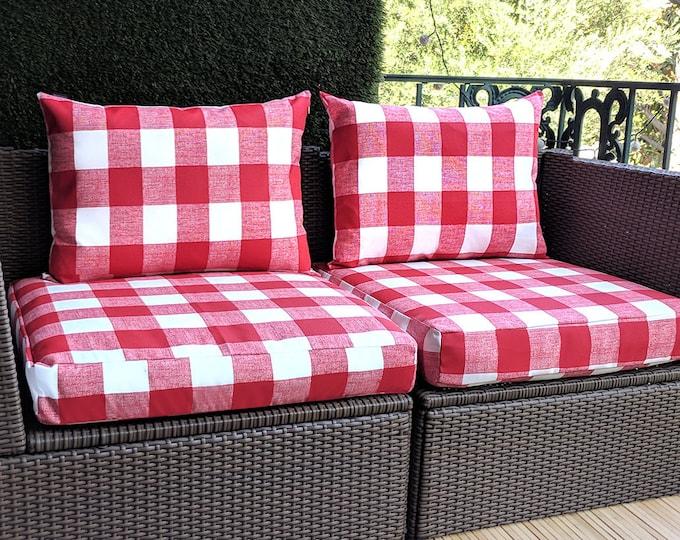 Red Outdoor Buffalo Check, IKEA Hallo Kungso OUTDOOR Slip Cover, Ikea Cushion Covers, Custom Ikea Decor, Bespoke Arholma Covers