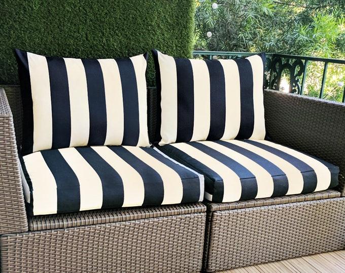 Sunbrella Black, Beige Stripe IKEA ARHOLMA Slip Cover, Ikea Cushion Covers, Custom Ikea Decor, Bespoke Arholma Covers