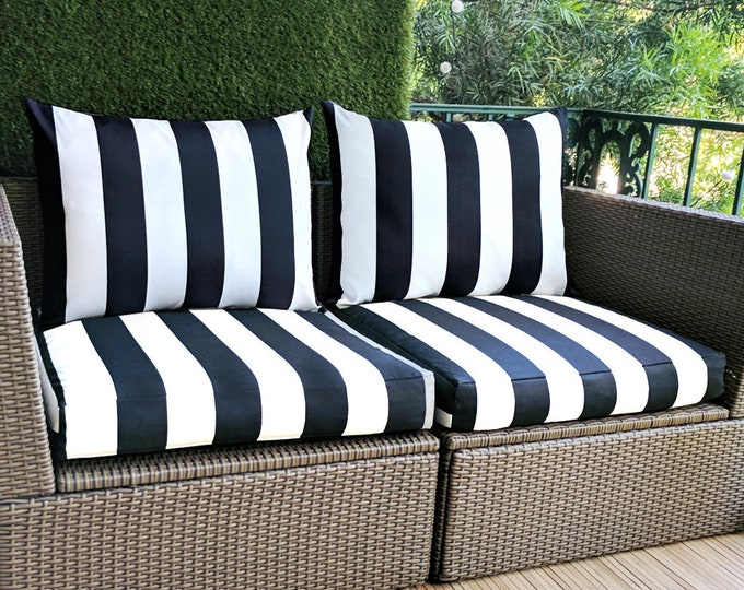 IKEA Hallo Kungso OUTDOOR Slip Cover, Ikea Cushion Covers, Custom Ikea Decor, Bespoke Arholma Covers, Black Canopy Stripe