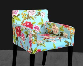 Blue Floral Custom Furniture Prints, IKEA NILS Chair Slip Cover