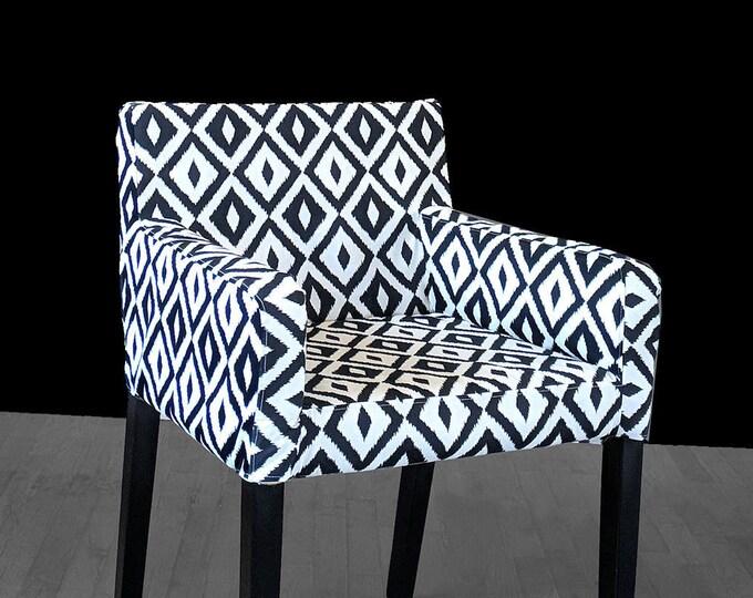 Tribal Patterned IKEA NILS Chair Slip Cover, Custom Chair Prints, Aztec Black