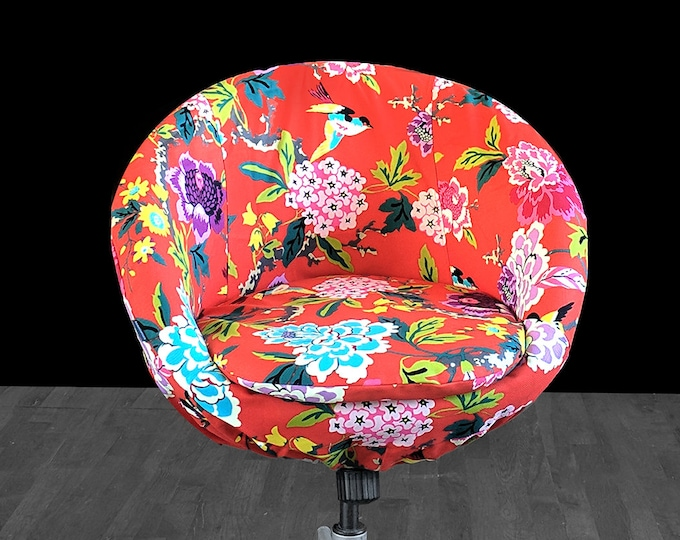 Colorful Floral Custom IKEA SKRUVSTA Chair Slip Cover - Candid Moment Cinnabar