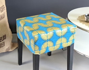 Turquoise Blue, Metallic Gold IKEA Stool Cover