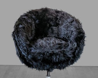 IKEA Black Fur SKRUVSTA Chair Slip Cover