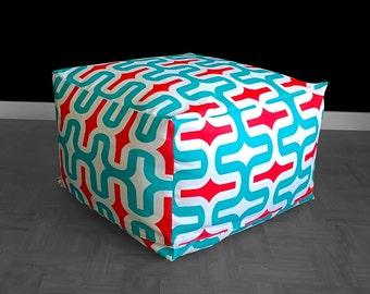 IKEA Jordbro Bean Bag Cover, Ottoman Slipcover, Red, White, Blue