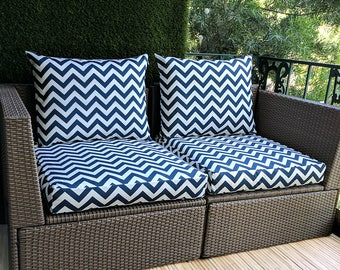 IKEA OUTDOOR Slip Cover, Navy Blue Ikea Chevron Cushion Covers, Custom Zig Zag Ikea Decor, Bespoke Arholma Covers