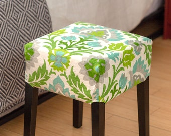Green Floral IKEA Stool Cover