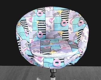 IKEA SKRUVSTA Chair Slip Cover, Retro 80's Diner, Pastel, Doughnut Print