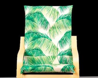 Leaf Print IKEA KIDS POÄNG Cushion Slipcover, Tropical Leaves Children's Ikea Poang Chair Cover