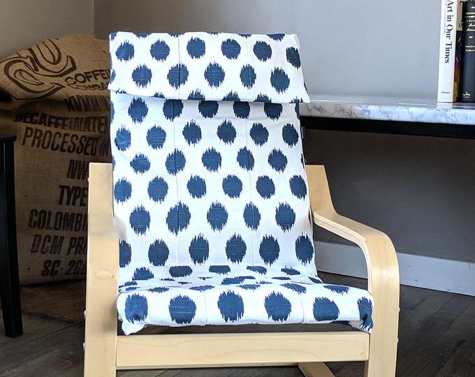 Navy Blue Polka Dot Kids Ikea Poang Chair Cover, Custom Childrens Poang Seat Cover