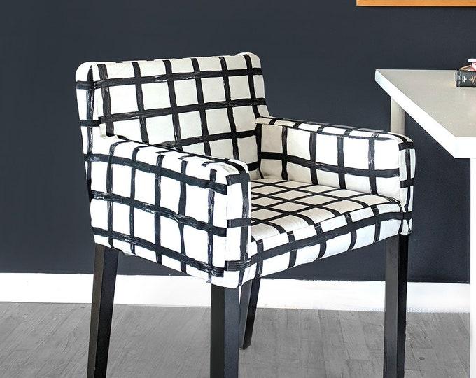 IKEA NILS Chair Slip Cover, Modern Black Squares