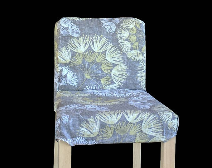 Gray Blossom Flower HENRIKSDAL Bar Stool Chair Cover, Whisper Graphite