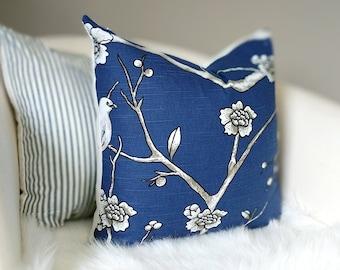 Navy Twilight Blue Pillow Cover, Birds, Vintage Blossom