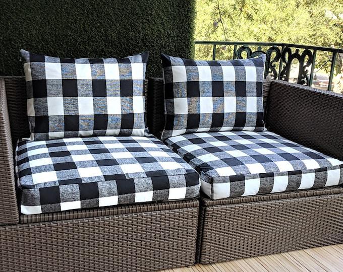 Outdoor Buffalo Check Black, IKEA Hallo Kungso OUTDOOR Slip Cover, Ikea Cushion Covers, Custom Ikea Decor, Bespoke Arholma Covers