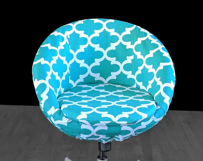 Turquoise Blue Indian Print IKEA SKRUVSTA Chair Slip Cover