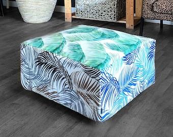 Floor Pouf Cover, Green, Blue, Brown Palmas, Tropical Palm Leaves Ottoman