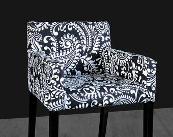 Black Floral Patterned IKEA NILS Chair Slip Cover, Custom Chair Prints