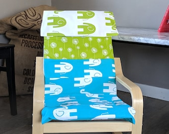 Fun Green Blue Elephant, Dandelion Patchwork, Ikea Childs Poang Chair Cover