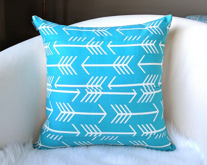 Turquoise Blue Arrow Pillow Cushion Cover
