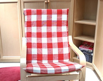 IKEA Poang Farmhouse Buffalo Check Slipcover, Red Ikea Chair Cover