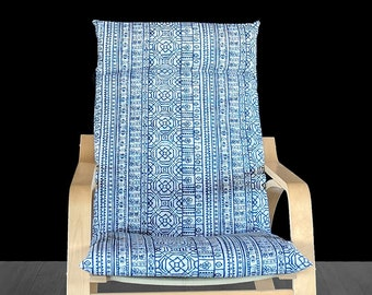 Navy Blue Mexican Print IKEA POÄNG Chair Cover, Cushion Slip Cover