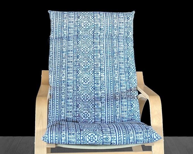 Navy Blue Mexican Print IKEA POÄNG Chair Cover, Cushion Slip Cover