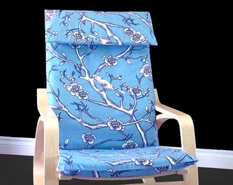 Blue Flower Print Ikea Poang Seat Cover