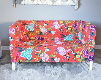Bold Colorful Red Floral IKEA KNOPPARP Slip Cover