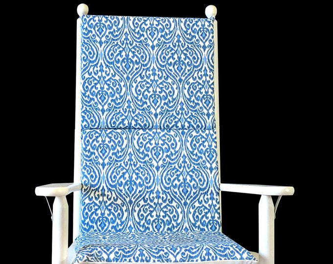 Regal Royal Blue Ikat Rocking Chair Cushion Cover