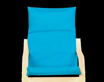 Solid Patchwork Teal Blue Patterned Child's Ikea Poang Seat Cover