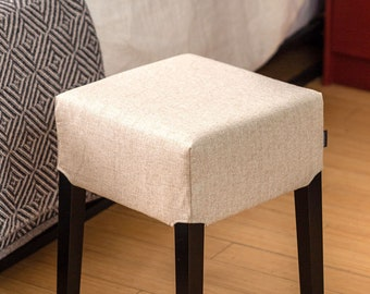 Farmhouse Oatmeal Linen Stool Cover, IKEA Nils