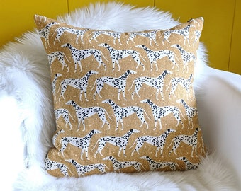Dalmation Dog Animal Print Pillow Cover, Puppy Dogs Brown