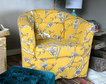 IKEA Tullsta Chair Cover, Vintage Style Flower Print, Blossoms Citrine Yellow