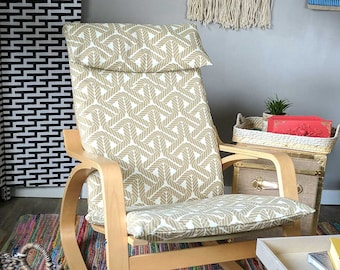 Beige Outdoor Geometric Rope IKEA POÄNG Cushion Slipcover, Ready to Ship