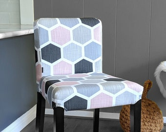 Blush Pink Honeycomb Print, IKEA HENRIKSDAL Bar Stool Chair Cover