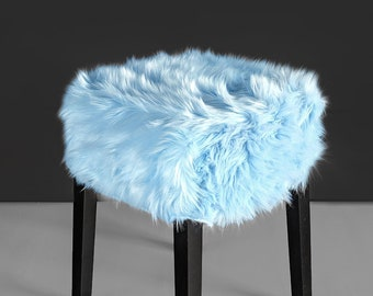 Light Blue Faux Fur Stool Cover, IKEA Nils
