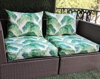 Tropical IKEA OUTDOOR Palm Leaves Slip Cover, Ikea Cushion Covers, Custom Ikea Decor, Bespoke Arholma Covers, Tommy Bahama Palmas Verde