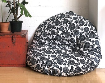 Floor Pouf, Dog Bed Cover, Dihult Slipcover, Ikea Floor Pillow Covers, Black Floral