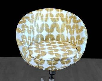 White Gold Hollywood Regency Custom IKEA SKRUVSTA Chair Slip Cover