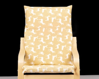 Deer Animal Print, Beige Yellow IKEA KIDS POÄNG Cushion Slipcover