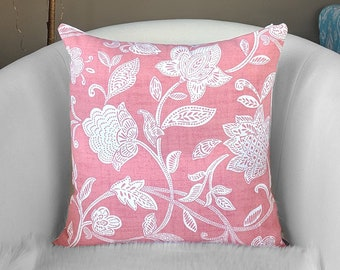 Dusty Pink Floral Toss Pillow Cover