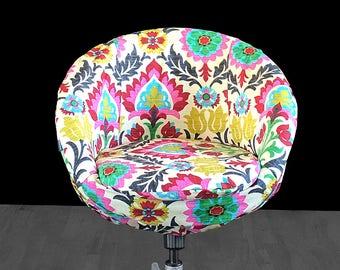 Colorful Floral Custom IKEA SKRUVSTA Chair Slip Cover - Santa Maria Desert Flower