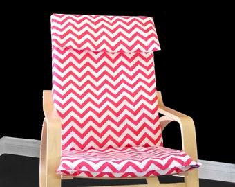 Coral Pink Chevron IKEA POÄNG Cushion Slipcover
